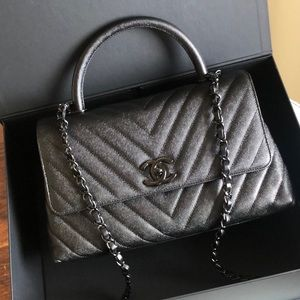 Chanel So Black Small Caviar Coco Handle Bag